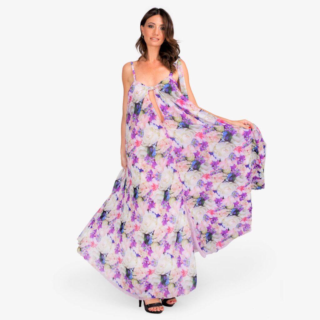 made in italy woman dress floral purple Sara Sabella