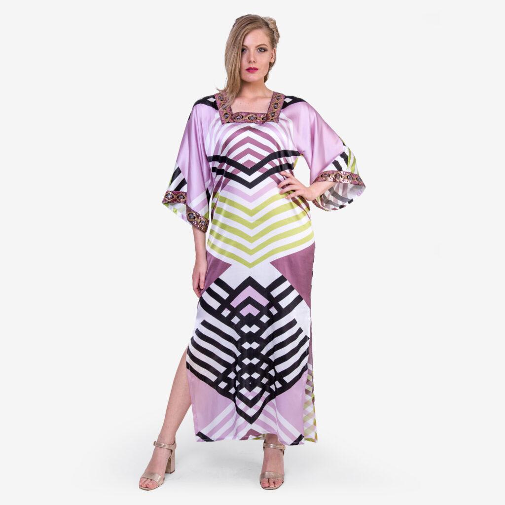 Made in Italy woman dress Como silk colored stripes SaraSabella