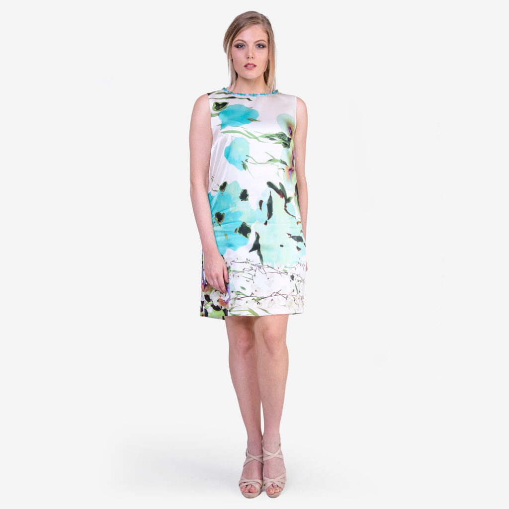 made in italy woman dress como silk floral SaraSabella