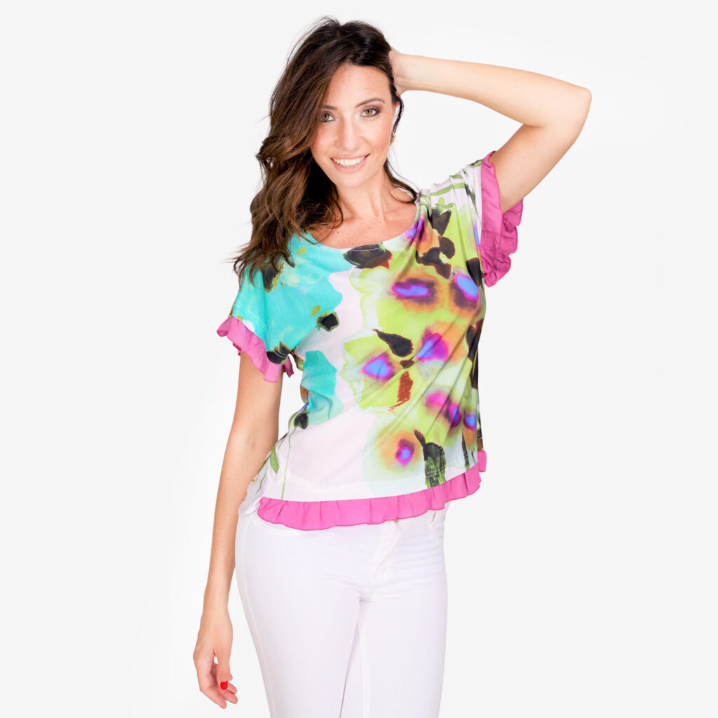 made in italy woman top floral colored