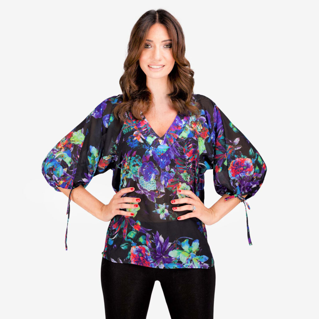 made in italy woman top floral black