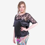 made in italy woman top como silk black Sara Sabella
