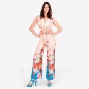 made in italy woman top pants set beige Sara Sabella
