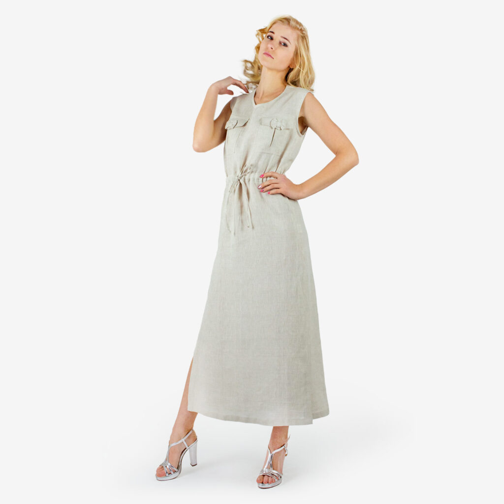 made in italy woman dress linen Sara Sabella