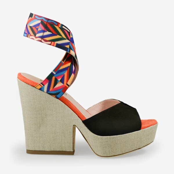 Made in Italy woman wedge sandals suede black