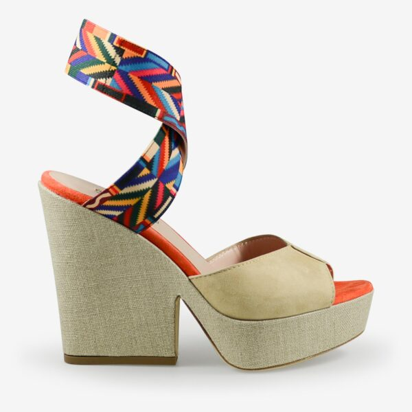 made in italy woman wedge sandals suede sand