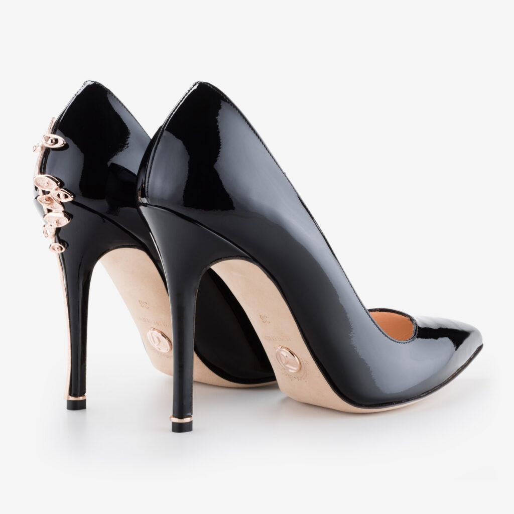 made in italy woman jewel shoes patent black leather elegant decollete ivan rando