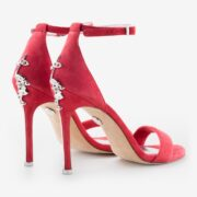 made in italy woman jewel shoes suede red leather elegant ankle strap heels ivan rando