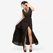 woman dress made in italy black long sexy dress marise perusia