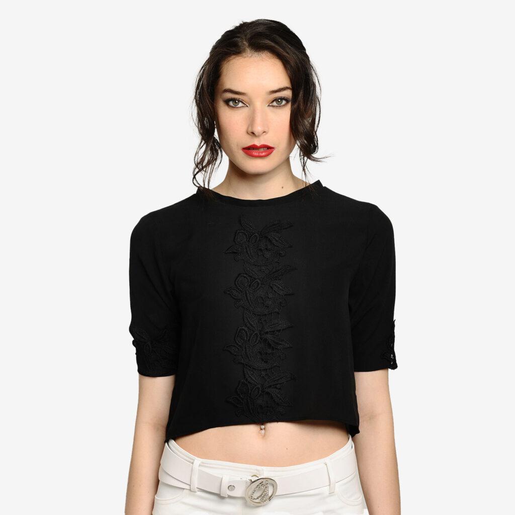 woman top black silk marise perusia