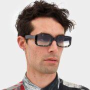 women's and men's sun glasses made in italy hunters glassing prismik baguette black marble look