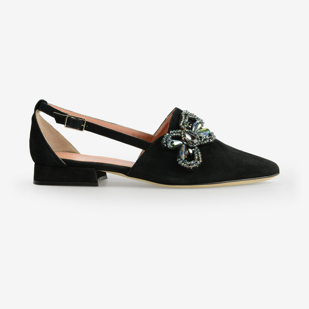 hand made in italy women's flats black suede crystals