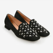 made in italy black suede leather women's loafers metal
