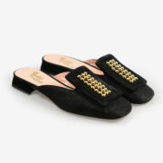 made in italy women's open toe mules black gold