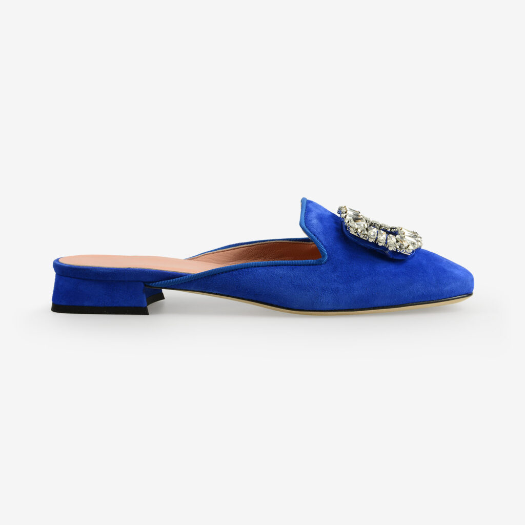 made in italy women's open toe mules blue suede leather