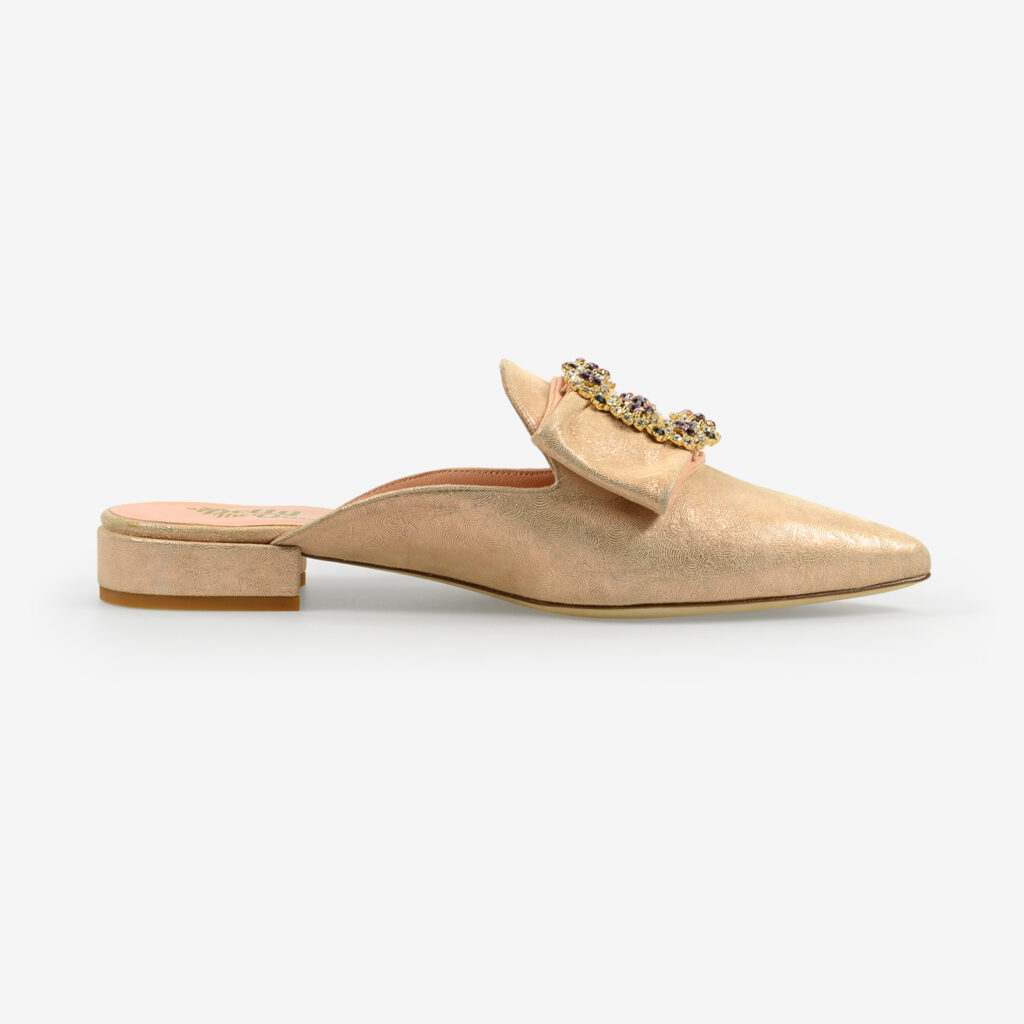 made in italy wome's open toe mules cipria suede leather crystals