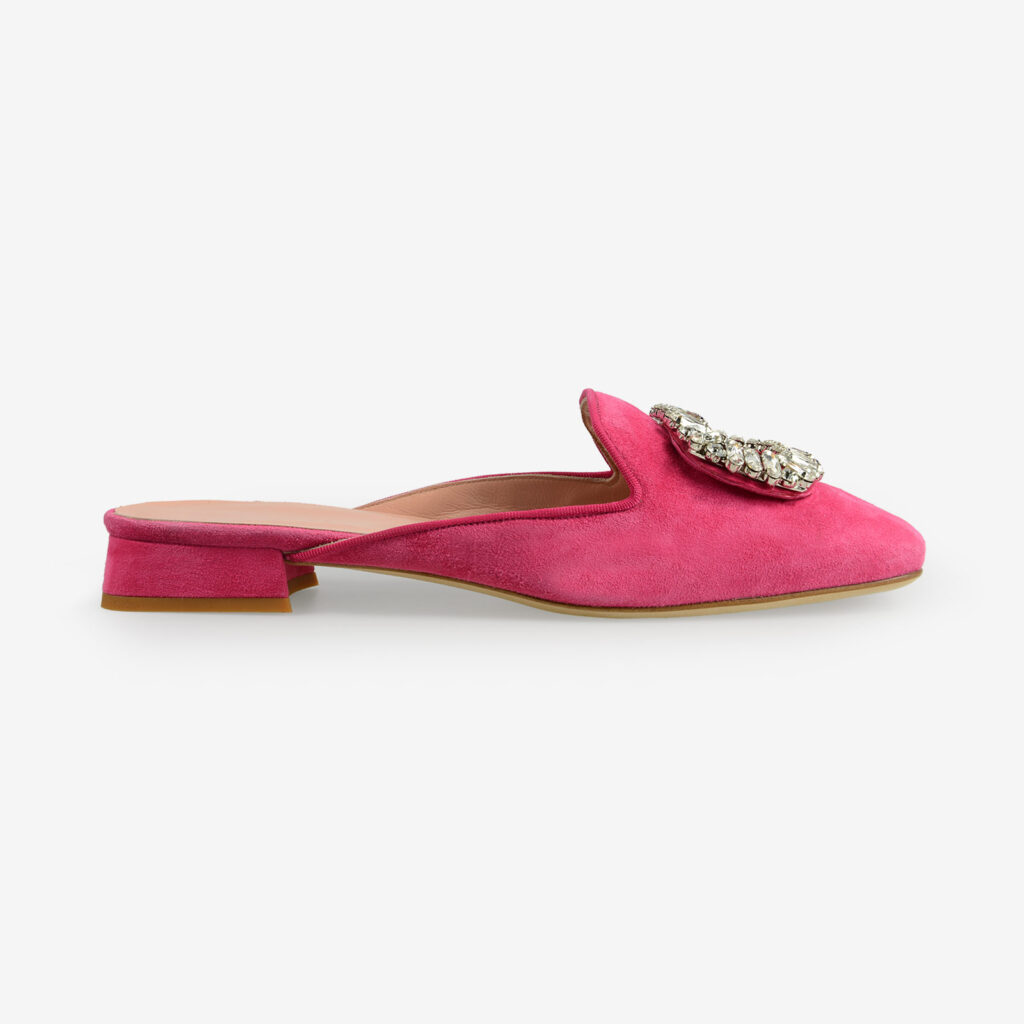 made in italy women's open toe mules pink fuchsia