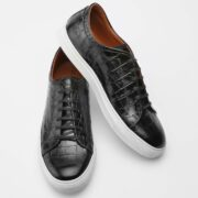 made in italy man shoes leather sneakers black cocco
