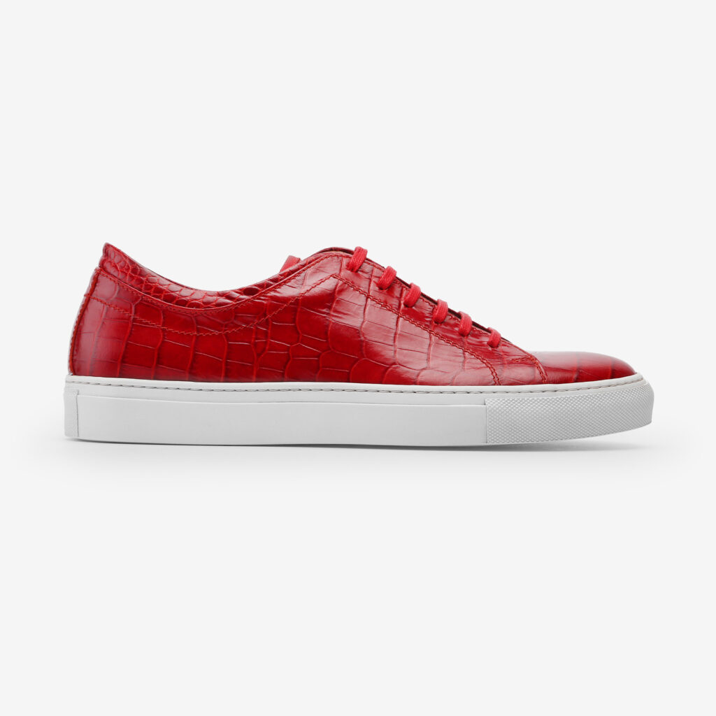 made in italy man shoes leather sneakers red cocco