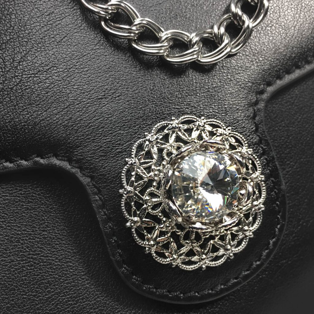 made in italy women leather bag swarovski black