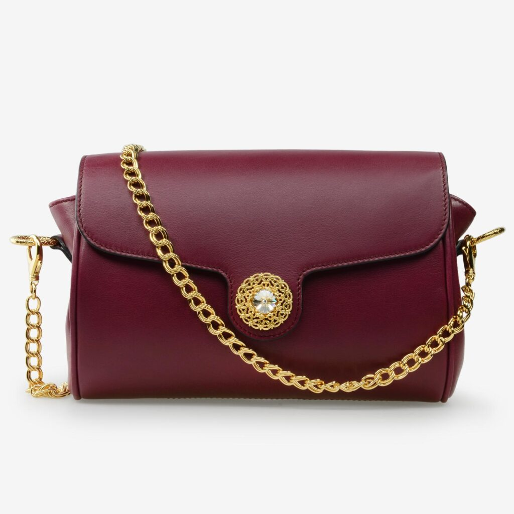 made in italy women leather bag swarovski bordeaux