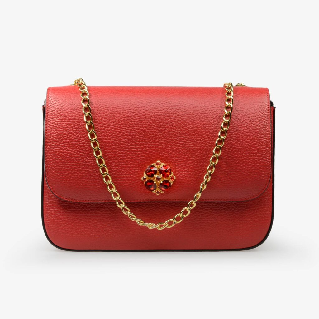 made in italy women leather bag swarovski red