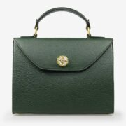 made in italy women leather large bag swarovski green