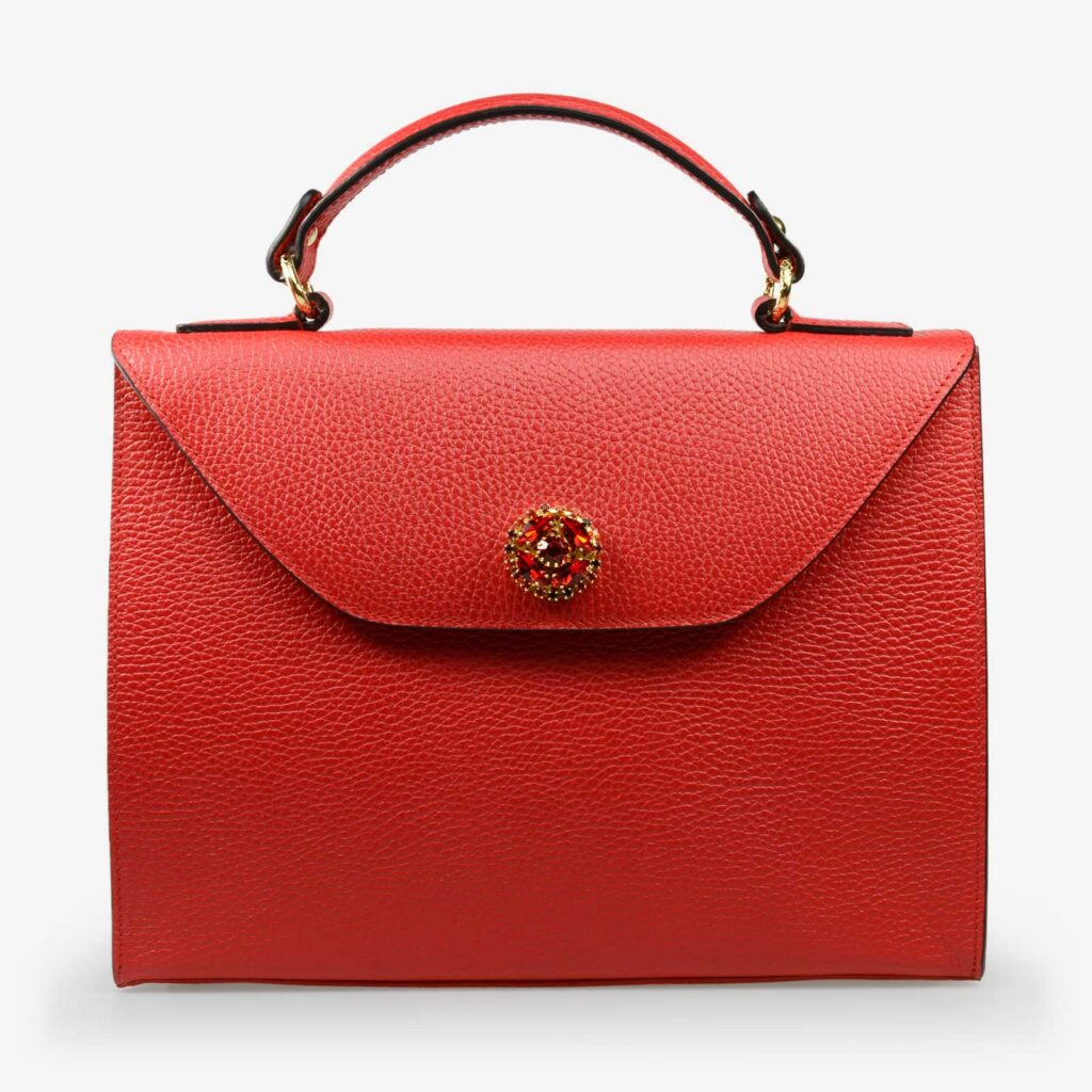 made in italy women leather large bag swarovski red