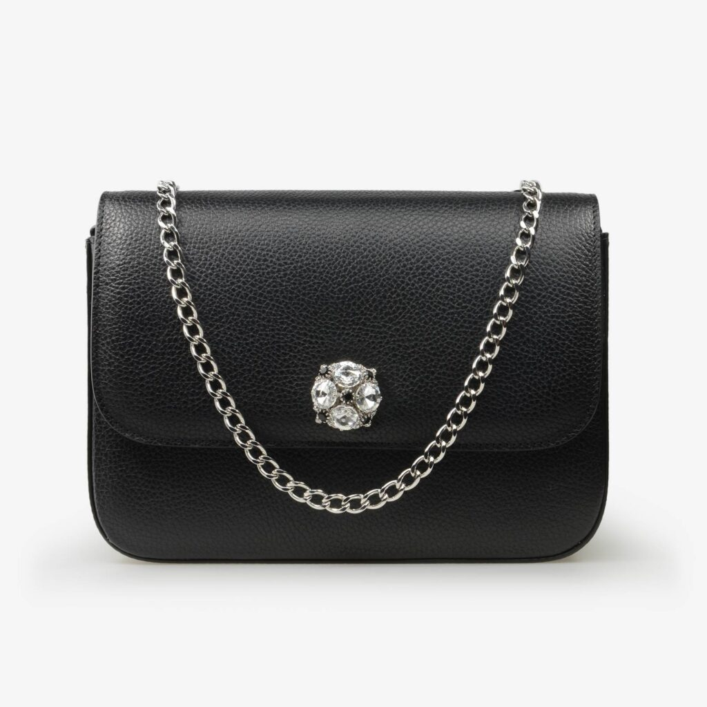 made in italy women leathe medium bag swarovsk black silver