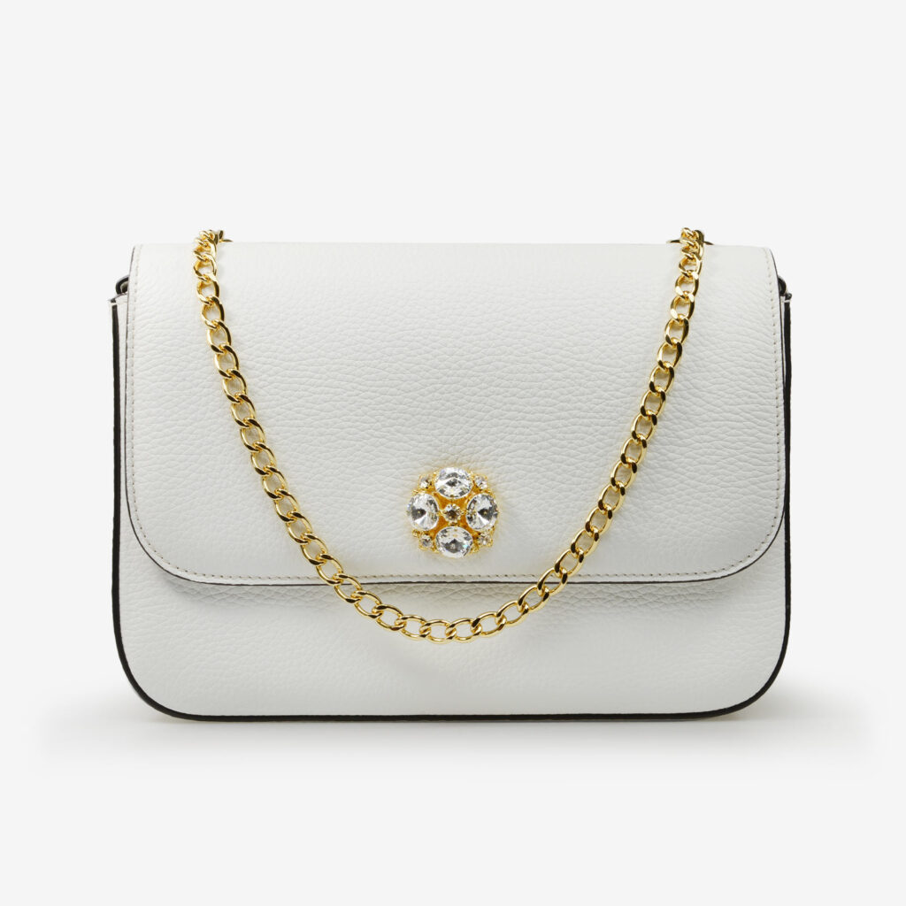 made in italy women leather bag swarovski white gold
