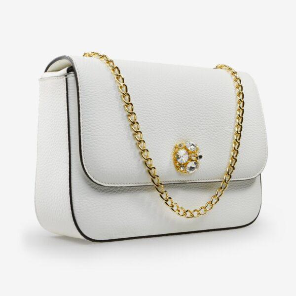 made in italy women leather bag swarovski white gold
