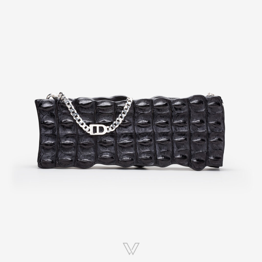 wow boutique leduran crocodile luxury clutch black