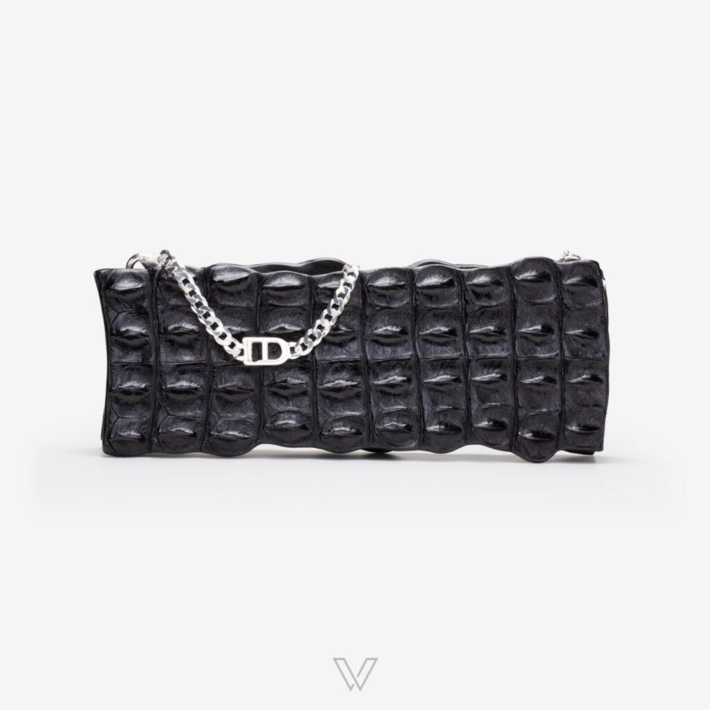 wow boutique leduran crocodile luxury clutch black