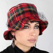 Complit Bucket Wool Hat Red Tartan made in italy